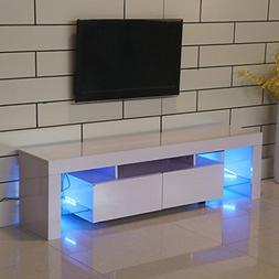 Homgrace Modern TV Unit Cabinet Stand with 2 Shelves, 63 inc