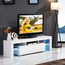 Mecor Modern White TV Stand with LED Lights, 63 Inch High Gl