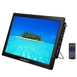 "PORTABLE RECHARGEABLE 14"" LED DIGITAL TV TELEVISION 12V AC/D"