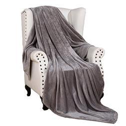 Snuz Flannel Throw Blanket Luxury Grey Twin Size 60x80 Inche