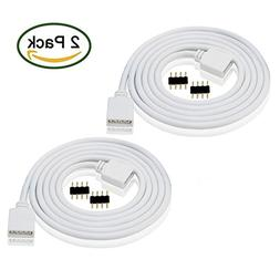 LED RGB Extension Cable 1.8ft White, 2PCS 4pin RGB LED Strip