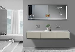 """GlassTek Smart TV Mirror 63"""" X 23.5"""" with Rectangle LED Ligh"""