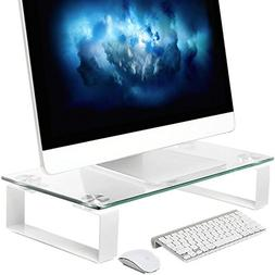 Tempered Glass Computer Monitor Stand Riser, Save Space Desk