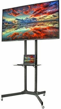 VIVO Black TV Cart for LCD LED Plasma Flat Panel Stand w/Whe