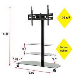 MMT Floor Universal Black Glass Steel TV Stand Suitable for