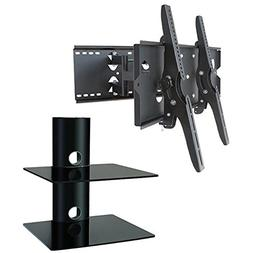 2xhome – NEW TV Wall Mount Bracket  & Two  Double Shelf Pa