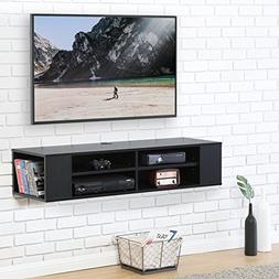 Fitueyes Wall Mounted Audio/Video Console Black Wood grain f