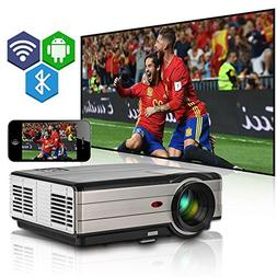 Wireless Bluetooth HD LCD Projector,EUG Multimedia 1080P HDM